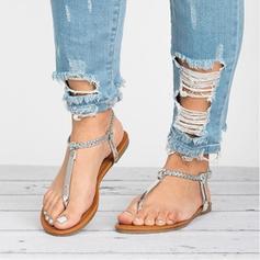Femmes Similicuir Talon plat Sandales Chaussures plates À bout ouvert Escarpins avec Boucle Lanière tressé chaussures