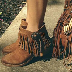 Women's PU Low Heel Boots With Tassel shoes