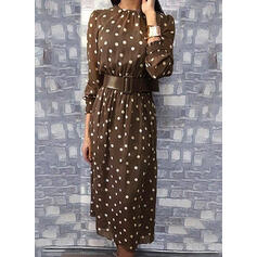 PolkaDot Long Sleeves Sheath Knee Length Casual Dresses