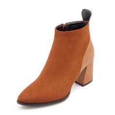 Femmes Suède Talon bottier Bout fermé Bottes Bottines avec Zip chaussures