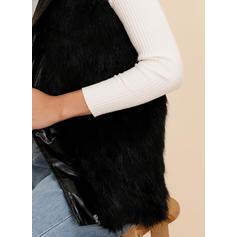 Umělá kožešina Krátké rukávy Jednobarevný Vlněné kabáty