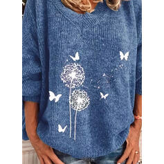 Animal-Print V-Ausschnitt Freizeit Pullover
