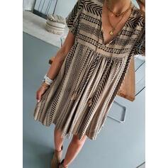 Print Short Sleeves Shift Above Knee Casual/Boho/Vacation Tunic Dresses