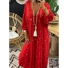 Solid/Beaded 3/4 Sleeves Shift Casual Maxi Dresses