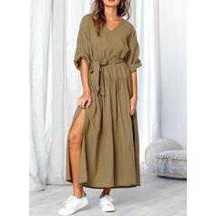 Solid Long Sleeves A-line Casual Maxi Dresses