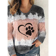Estampado Animal Tie Dye Cuello redondo Manga Larga Casual Camisetas
