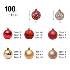 Merry Christmas 100 PCS PVC Christmas Décor Ball (Set of 100)