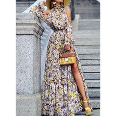 Print Long Sleeves A-line Skater Party/Elegant/Vacation Maxi Dresses