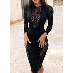 Lace/Solid Long Sleeves Bodycon Knee Length Little Black/Casual/Elegant Dresses