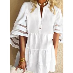 固体 1/2袖/フレアスリーブ シフトドレス 膝上 カジュアル/休暇 チュニック ドレス