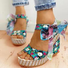 Mulheres Pano Plataforma Sandálias Calços Peep toe Saltos com Bowknot Aplicação de renda sapatos
