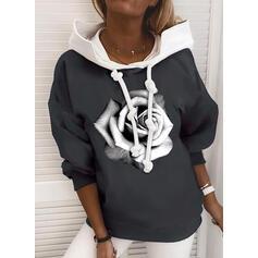 Print Floral Long Sleeves Hoodie