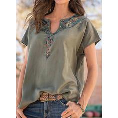 Floral V-Neck Short Sleeves Casual Knit Blouses