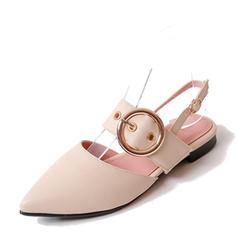 Naisten PVC Matalakorkoiset Heel Sandaalit Matalakorkoiset Suljettu toe Kantiohihnakengät jossa Solki kengät