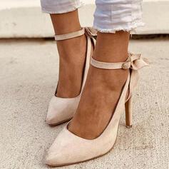 Bayanlar PU Topuklu ayakkabı Pompalar Kapalı Toe Sivri parmak Ile İlmek Toka Katı Renk ayakkabı