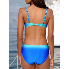 Высокая талия Цвет соединения Отжимание Ремень сексуальный Bikinis купальников