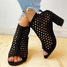 De mujer Ante Tacón ancho Sandalias Salón Encaje Tacones con Agujereado zapatos