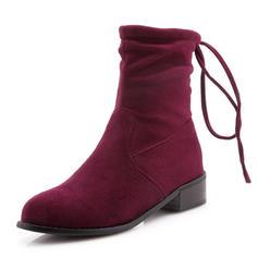 Femmes Suède Talon bas Bout fermé Bottes Bottes mi-mollets avec Dentelle chaussures