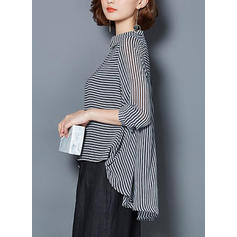 Striped Lapel Long Sleeves Elegant Shirt Blouses