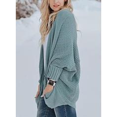 Einfarbig Zopfmuster Grobstrick Taschen Pullover
