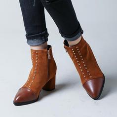Femmes Suède Talon bottier Escarpins Bottes Bottes mi-mollets avec Rivet chaussures