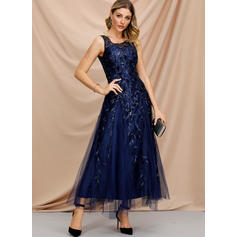 Embroidery/Sequins Sleeveless A-line Maxi Party/Elegant Dresses