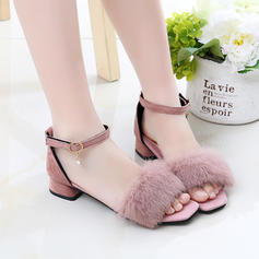 Girl's Suede Peep Toe Sandals Flats With Feather Button