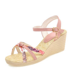 Frauen PVC Keil Absatz Sandalen Absatzschuhe Keile Peep Toe Slingpumps mit Andere Schuhe