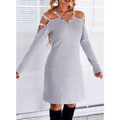 Sólido Lentejuelas Manga Larga manga de hombros fríos Vestidos sueltos Sobre la Rodilla Casual Túnica Vestidos