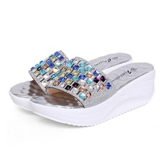Women's Leatherette Wedge Heel Sandals Slippers With Rhinestone shoes
