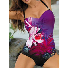 Floral Print Push Up Strap Elegant Bohemian One-piece Swimsuits