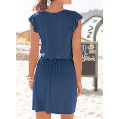 Solid Short Sleeves Sheath Above Knee Casual/Vacation Dresses