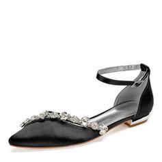 Femmes Soie comme du satin Talon plat Chaussures plates avec Strass Chaîne