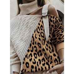 Color Block Cable-knit Leopard Turtleneck Casual Sweaters