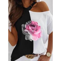 Print Color Block Floral One Shoulder Short Sleeves Casual Blouses