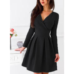 Solid Long Sleeves A-line Knee Length Little Black/Casual/Party Dresses