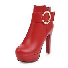 Femmes Similicuir Talon stiletto Bottes Bottines avec Boucle chaussures