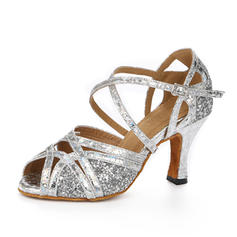 Women's Latin Heels Sandals Sparkling Glitter With Ankle Strap Latin