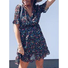 Print/Floral Short Sleeves A-line Knee Length Casual Skater Dresses
