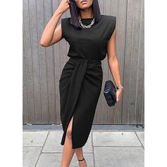 Couleur Unie Sans Manches Fourreau Longueur Genou Petites Robes Noires/Élégante Robes