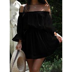 Solid 3/4 Sleeves/Flare Sleeves A-line Above Knee Little Black/Casual/Elegant Skater Dresses