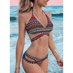 Imprimé Noué Dos Nu Sexy Élégante Jolis Bikinis Maillots De Bain