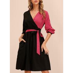 Color Block Long Sleeves A-line Knee Length Elegant Wrap/Skater Dresses