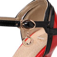 Women's Leatherette Patent Leather Stiletto Heel Sandals Pumps Platform Peep Toe shoes