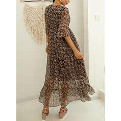 Print 3/4 Sleeves A-line Skater Casual Maxi Dresses
