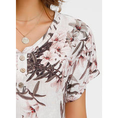 Floral V Neck Short Sleeves Button Up Casual Blouses