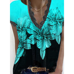 Print Color Block Floral Lace V-Neck Short Sleeves Casual Blouses