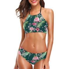 Floral Low Waist Leaves Halter Sexy Attractive Bikinis Swimsuits