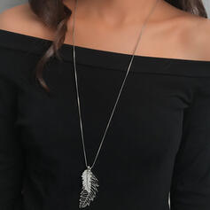 Shining Simple Leaves Shaped Boho Alloy Necklaces