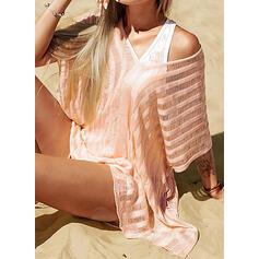 Einfarbig Gittergewebe V-Ausschnitt Boho Strandmode Bademode